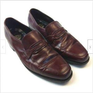 Florsheim burgandy leather Richfield shoes 10 D